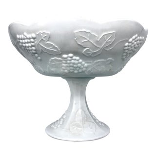 Indiana Harvest Grape Milk Glass Pedestal Centerpiece Bowl For Sale