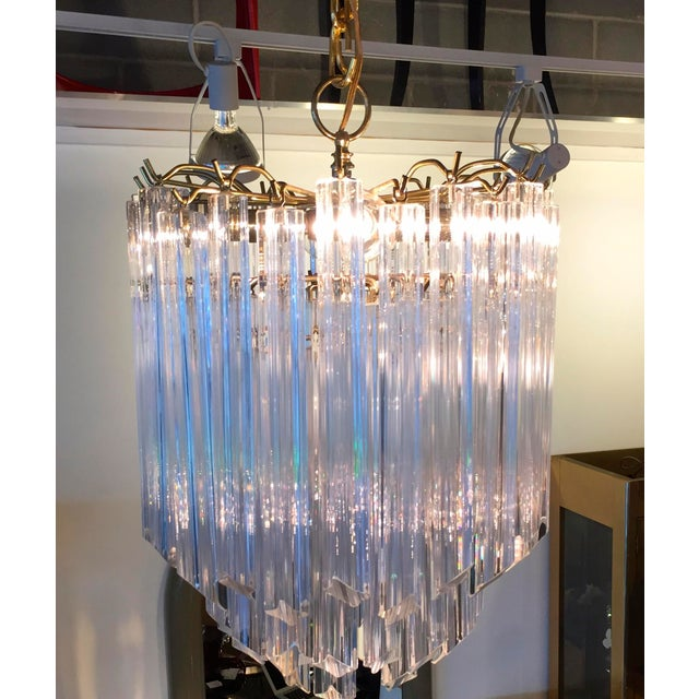 Mid Century Modern Lucite and Brass Waterfall Chandelier - Image 4 of 7