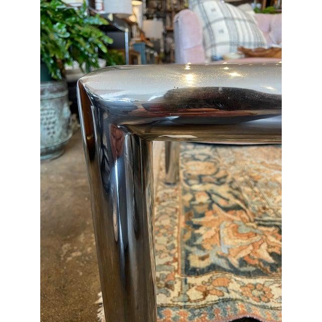 John Mascheroni John Mascheroni Mid-Century Modern Tubo Series Chrome and Glass Coffee Table For Sale - Image 4 of 7