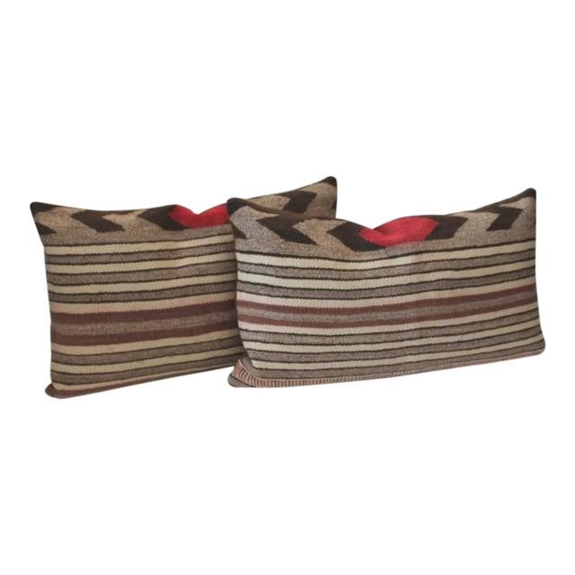 Fantastic Pair of Navajo Saddle Blanket Weaving Pillows For Sale