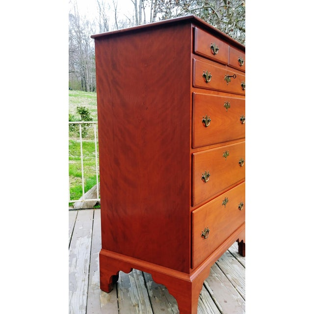 Traditional 1950s Traditional Virginia Craftsmen Reproduction Solid Cherry Tall Chest of 6 Drawers For Sale - Image 3 of 13