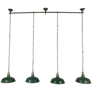 1920s Bronze and Nickel Billiard Light Fixture Art Deco Finials For Sale