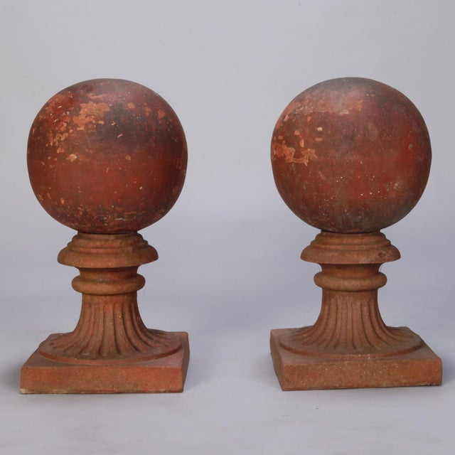 1930s 1930s Large Round Terra Cotta Finial on Stand For Sale - Image 5 of 6