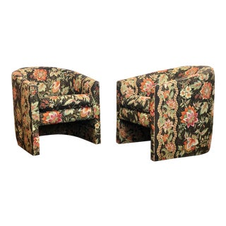 1980s Hollywood Regency Baughman Style Barrel Back Accent Chairs – a Pair For Sale