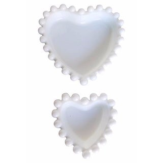 Heart-Shaped Milk Glass Candy Dishes - A Pair