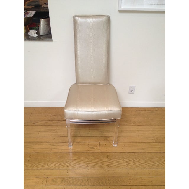 Vintage Lucite Upholstered Chairs - Set of 4 - Image 2 of 4
