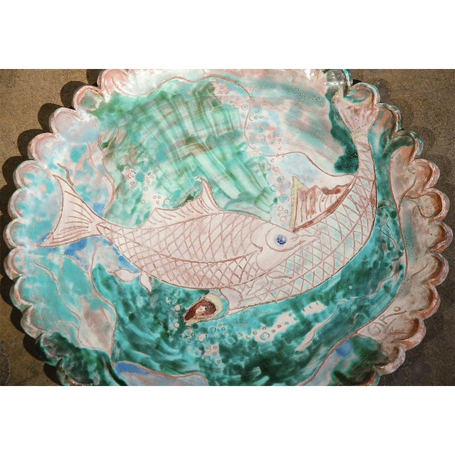 Contemporary Large Italian Platter with Fish For Sale - Image 3 of 8