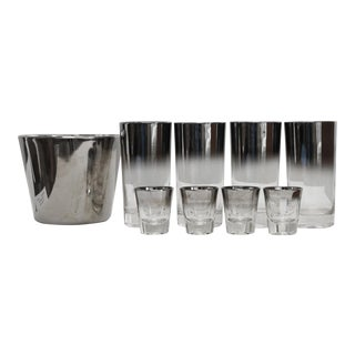 Ombre Silver Fade Cocktail Set Dorothy Thorpe Silver For Sale