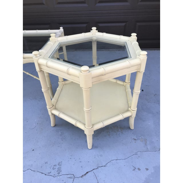 Chinoiserie Clear Glass Vintage Chinoiserie Thomasville Faux Bamboo Coffee Table and Two Side Tables - Set of 3 For Sale - Image 3 of 8