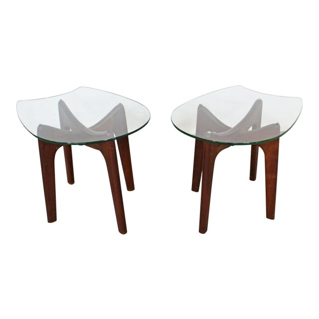 Pair of Mid-Century Danish Modern Adrian Pearsall Stingray Glass Top End Tables For Sale
