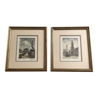 Framed Scenic European Prints - A Pair For Sale