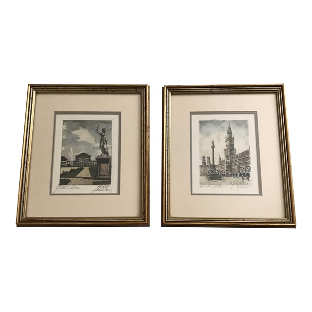 Framed Scenic European Prints - A Pair - Image 1 of 9