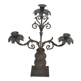 Metal 3 Arm Candelabra by Payne Imports For Sale