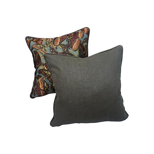 Tapestry Butterfly Pillows - Pair - Image 5 of 5