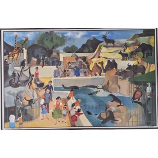 1960s Mid-Century Framed French School Poster-Zoo For Sale