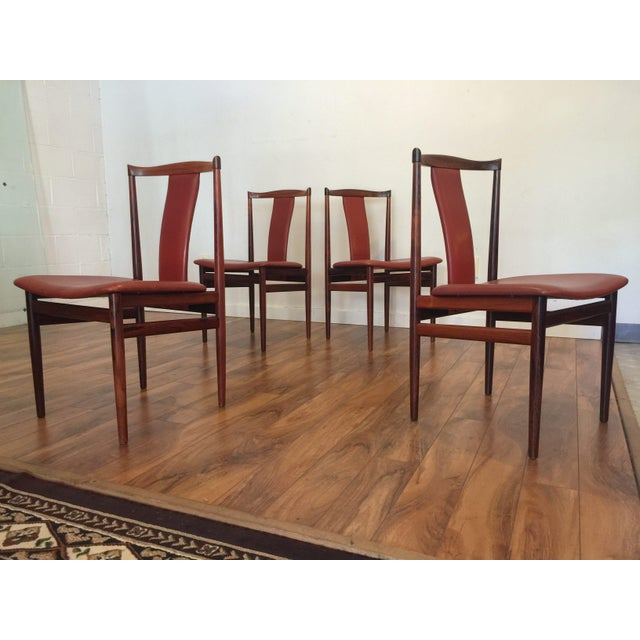 Henning Sorensen Rosewood & Leather Dining Chairs - Set of 4 - Image 6 of 11
