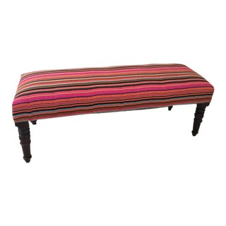 Handcrafted Handloom Upholstered Bench For Sale
