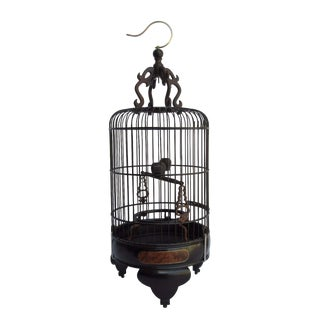 High Quality Handmade Chinese Tan Rosewood Burlwood Gold Line Inlay Round Shape Birdcage For Sale