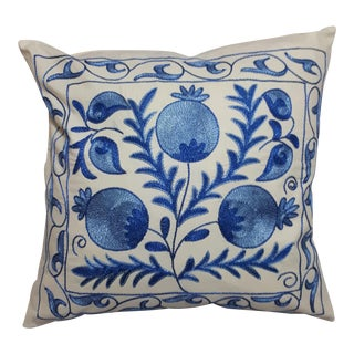 Blue Pomegranate Design Crochet Cushion Cover For Sale
