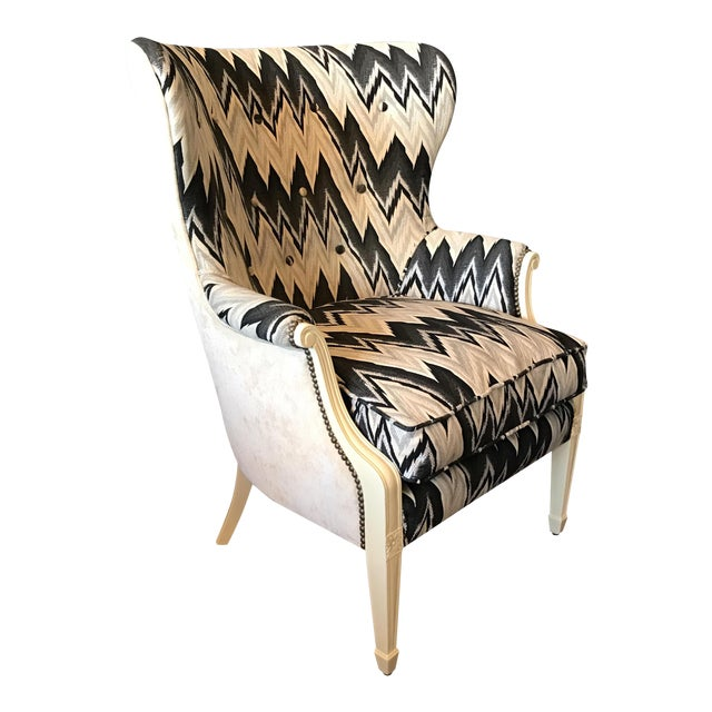 Custom Brass Tacked Wingback Chair - Image 1 of 9