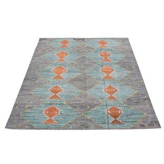 """Turkish Wool Woven Aqua Orange Gray Kilim Rug - 12'3"""" X 9'1"""" For Sale"""
