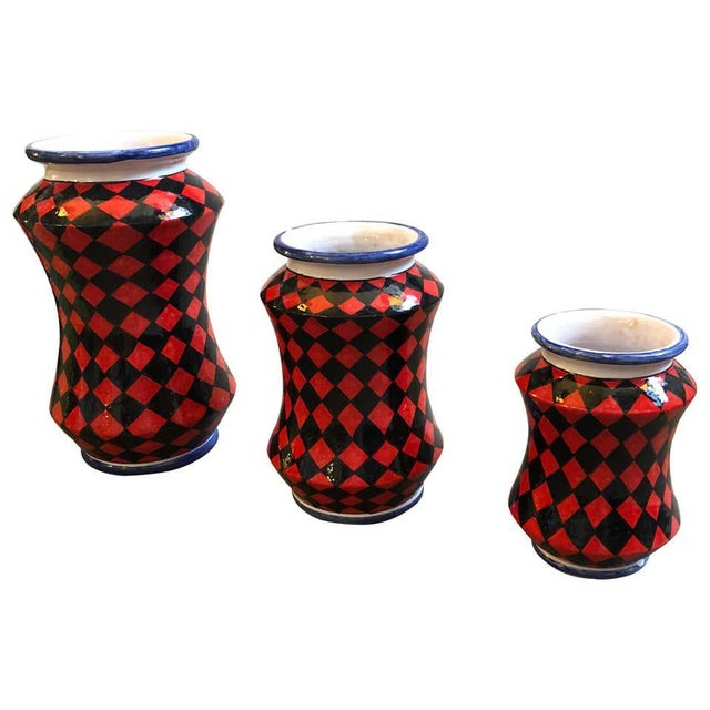 Pieces Hand Painted Sicilian Terracotta Albarello Vases - Set of 3 For Sale - Image 11 of 11