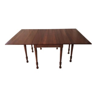 Vintage Solid Walnut Drop Leaf Dining Table For Sale