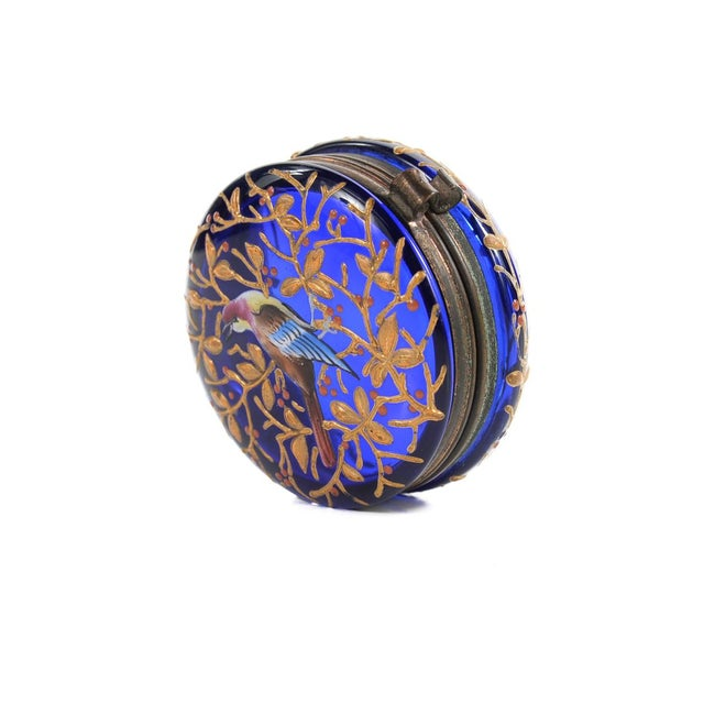 Cobalt Blue Glass Painted Antique Pill Box - Image 7 of 9