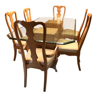 Henredon Dining Room Beveled Glass Table & 6 Chairs For Sale