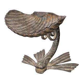 Samuel Yellin Style Iron Fish, Seashell Centerpiece/Taza For Sale