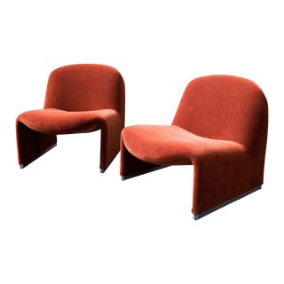 Pair of Alky Chairs by Giancarlo Piretti in Rust Mohair