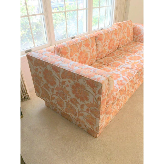 Mid Century Modern Milo Baughman Style Orange Indian Print Upholstery Plinth Base Sofa For Sale In New York - Image 6 of 9