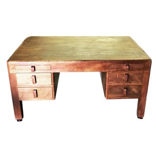 Mid-Century Art Deco Wood Tanker Desk