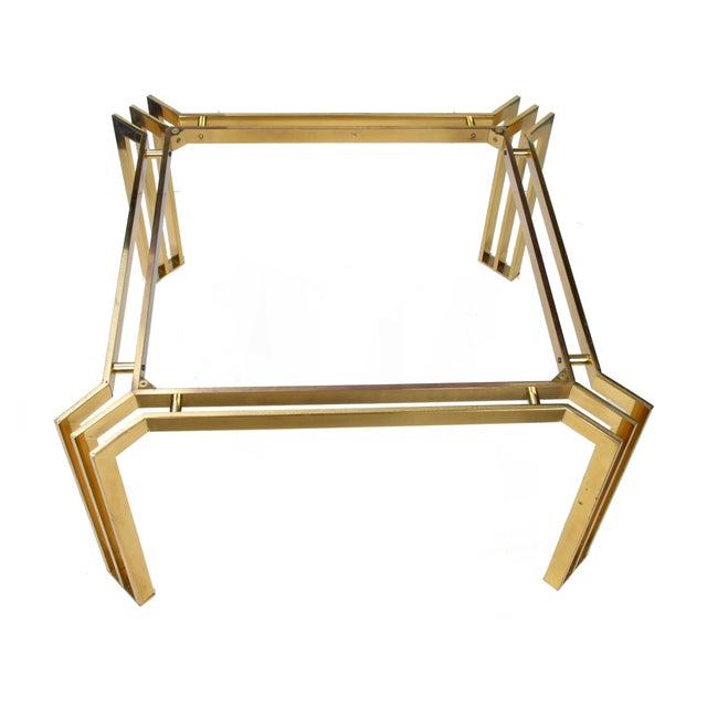 Italian Italian Mid-Century Modern Brass Coffee Table For Sale - Image 3 of 10