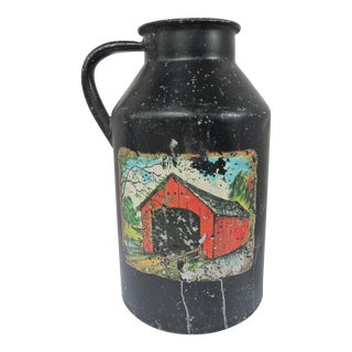 Antique Milk Jug with Red Barn For Sale
