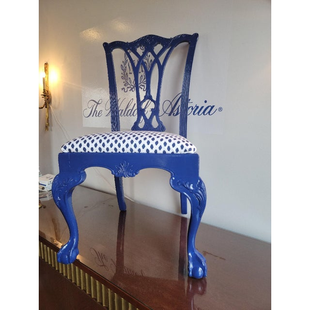 Custom painted blue vintage Drexel Heritage Chippendale Chairs from the historic Waldorf Astoria hotel in NYC. These...