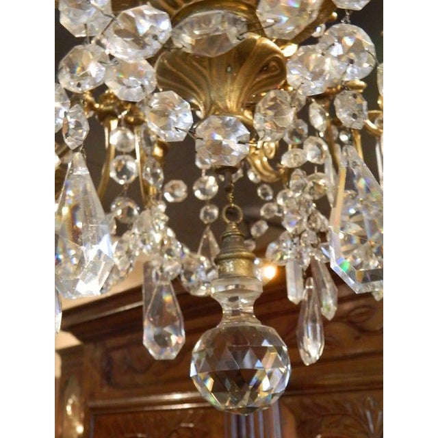 French Bronze Dore Eighteen Candle Chandelier With Crystals, 19th Century For Sale In Savannah - Image 6 of 11