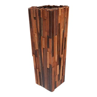 Modern Salvaged Wood Planter For Sale