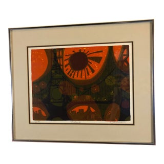 Mid Century Serigraph Titled Bridge II by David Weidman - Signed and Numbered For Sale