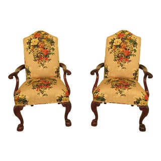Century Ball & Claw Upholstered Open Arm Chairs - a Pair For Sale