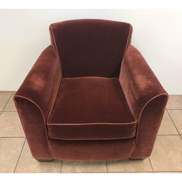 Art Deco Art Deco Mohair Lounge Chair With Leather Trim For Sale - Image 3 of 5