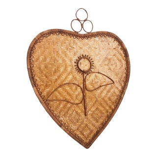 Large Vintage Wicker Flower Wall Hanging For Sale