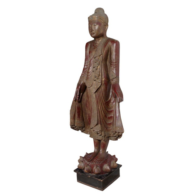 Carved Wood Buddha Statue - Image 2 of 8