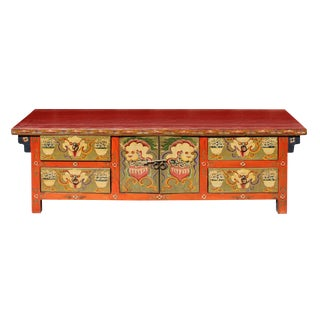 Chinese Orange Tibetan Skull Foo Dogs Console Table Cabinet