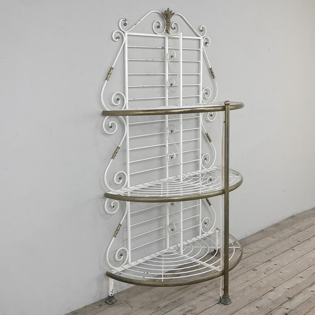 Metal 19th Century French Wrought Iron Demilune Baker's Rack For Sale - Image 7 of 12