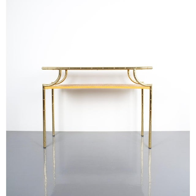 Mid-Century Modern Bamboo Brass Console Table and Mirror, Italy 1950 For Sale - Image 3 of 13