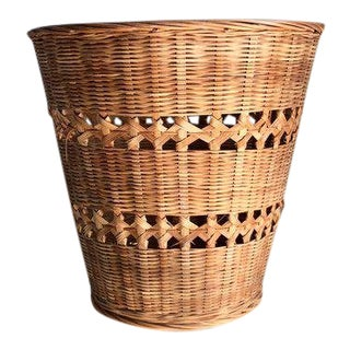 Vintage Bohemian Woven Rattan Plant Basket For Sale