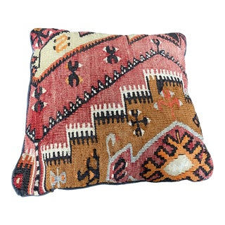 "Vintage Turkish Kilim Rug Pillow - 16x16"" For Sale"