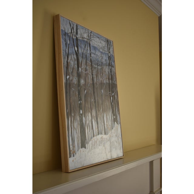 "White Stephen Remick ""Snowy Mountains Through Bare Trees"" Contemporary Landscape Painting For Sale - Image 8 of 12"