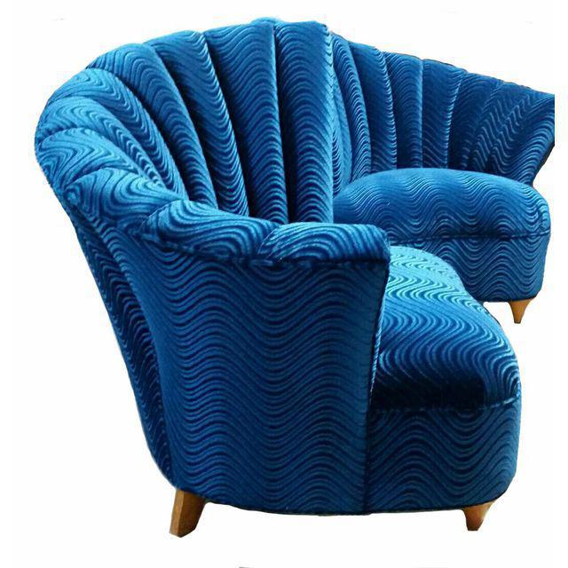 Boho Chic Bohemian Blue Velvet Chairs - a Pair - Image 3 of 3